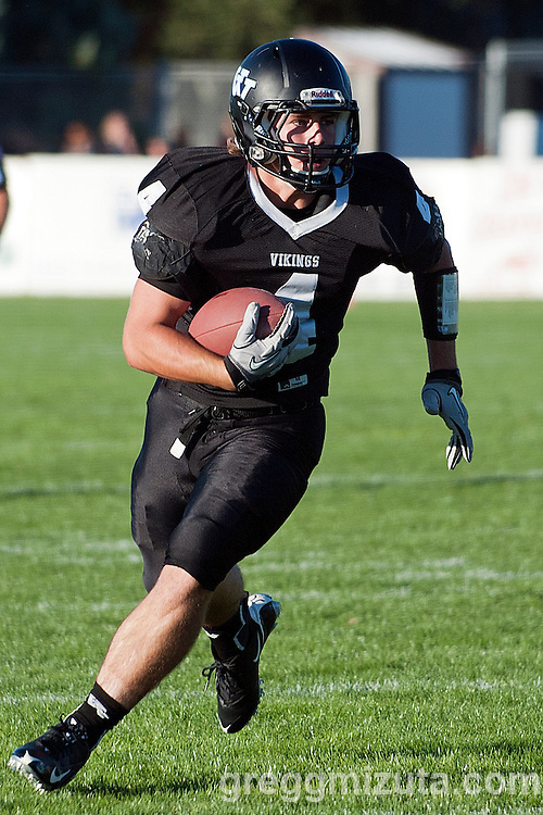 Vale senior Andrew Weber rushes during Vale's season opening 48-7 victory over Parma on September 5, 2014 at Frank Hawley Stadium, Vale High School, Vale, Oregon. Weber recorded the first score of the season with a 7 yard run in the first quarter.