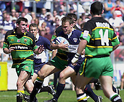 01/06/2002.Sport - Rugby - Zurich Championship.Bristol v Northampton.Bristol's wing Phil Christophers charges through the the Siants defence.   [Mandatory Credit, Peter Spurier/ Intersport Images].