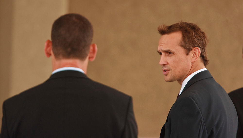 Steve Yzerman speaks to morners at the funeral for his former Detroit Red Wings teammate Bob Probert in Windsor, Ontario,July 9, 2010, following Probert's sudden death earlier this week at the age of 45.<br /> The Canadian Press/GEOFF ROBINS