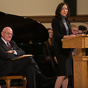 Judge Justin Quackenbush and Senator Maria Cantwell address the audience during a memorial for Tom Foley, the former U.S. Speaker of the House, at St. Aloysius Church in Spokane, Wash. Friday November 1, 2013.  (Photo courtesy of Gonzaga University)