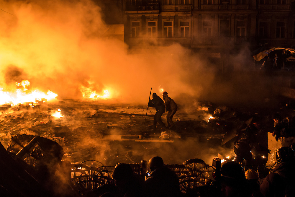 KIEV, UKRAINE - JANUARY 24: Anti-government protesters clash with police on Hrushevskoho Street near Dynamo stadium on January 24, 2014 in Kiev, Ukraine. After two months of primarily peaceful anti-government protests in the city center, new laws meant to end the protest movement have sparked violent clashes in recent days. (Photo by Brendan Hoffman/Getty Images) *** Local Caption ***