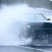 10/29/12 - Wilmington, DE - Hurricane Sandy -  A green truck drives though the flooded street of Old Capitol trail Monday, Oct. 29, 2012, in Wilmington DE.  ..SAQUAN STIMPSON/Special to The News Journal
