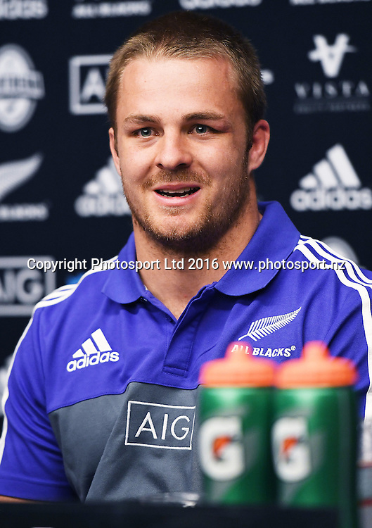 Sam Cane during an All Blacks press conference at the Hyatt Regency Hotel in Chicago, USA. Tuesday 1 November 2016. © Copyright Photo: Andrew Cornaga / www.Photosport.nz