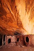 A trio of Ancestral Puebloan granaries. Cedar Mesa, Utah.