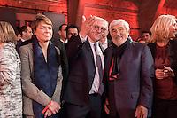 11 FEB 2017, BERLIN/GERMANY:<br /> Elke Buedenbender (L), Ehefrau von Steinmeier, Frank-Walter Steinmeier (M), SPD, Kandidat fuer das Amt des Bundespraesidenten, und Mario Adorf, Schauspieler, (v.L.n.R.), waehrend einem Empfang der SPD anl. der Bundesversammlung, Westhafen Event und Convention Center<br />  IMAGE: 20170211-03-024<br /> KEYWORDS: Elke B&uuml;denbender