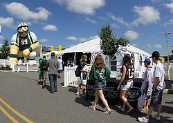 June 14, 2012; Florham Park, NJ, USA; Fans arrive at New York Jets FanFest before New York Jets Minicamp at the Atlantic Health Training Center.
