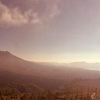Gunung (Mount) Batur, Lake Batur and Gunung Aban in the clouds