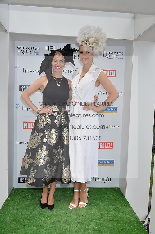 Left to right, ALEXANDRA LIGHT and VOGUE WILLIAMS  at the Investec Ladies Day at the Investec Derby Festival 2015 at Epsom Racecourse, Epsom, Surrey on 5th June 2015.