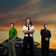 Kristen Verdi a UVU student another student named Travis and Mario Markides, who is the manager out at the UVU hanger get their portrait taken in front of one of the UVU planes on the tarmac at the Provo Airport in Provo, Utah Monday July, 10, 2013. (August Miller, UVU Marketing)
