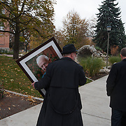 A photo of Thomas Foley makes its way to the memorial Nov. 1, 2013 at St. Aloysius Church for the former House Speaker. (Photo courtesy of Gonzaga University.)