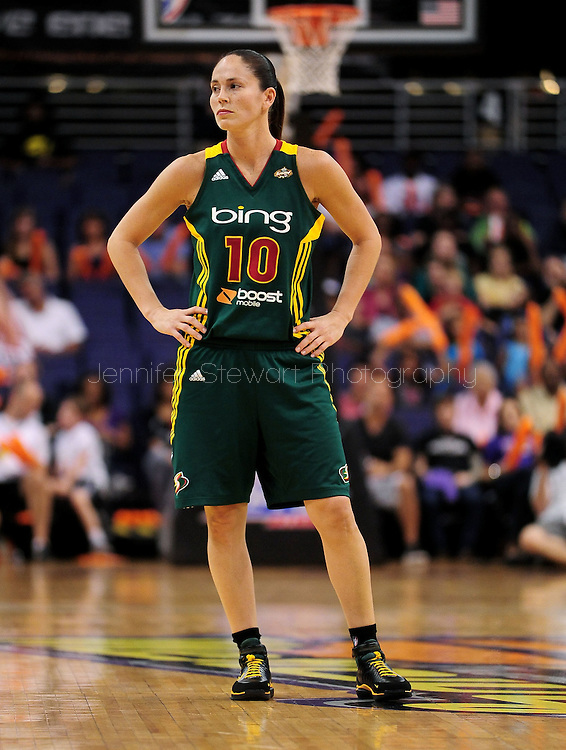 Sep 17, 2011; Phoenix, AZ, USA; Seattle Storm guard Sue Bird (10) reacts on the court while playing against the Phoenix Mercury during the second half at the US Airways Center.  The Mercury defeated the Storm 92 - 83. Mandatory Credit: Jennifer Stewart-US PRESSWIRE