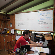 Matt inside the office and reception of Finca Bellavista