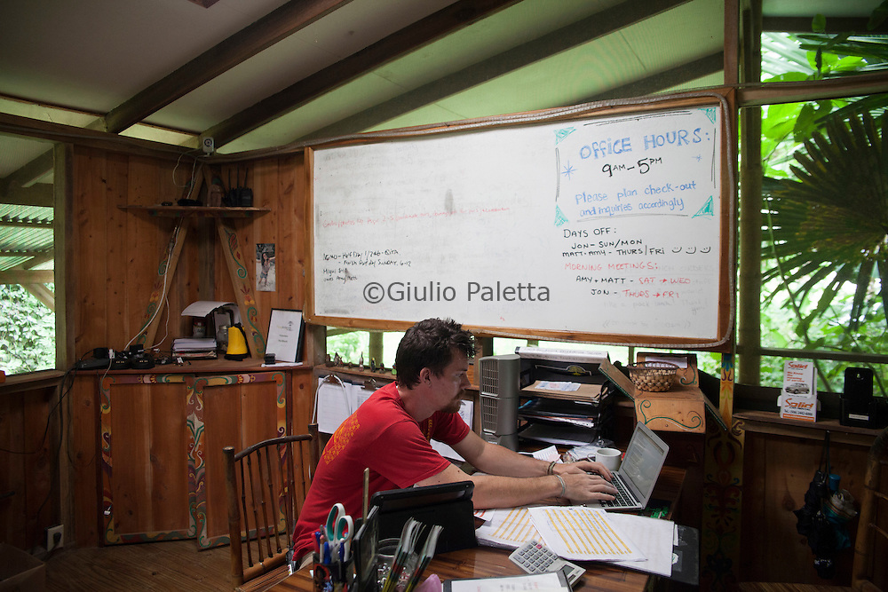 Matt inside the office and reception of Finca Bellavista