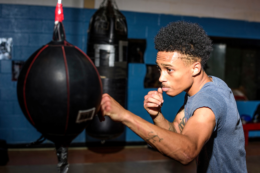 Baltimore, Maryland - January 26, 2017: McKinley Fulton, 17, trains at the Upton Boxing Club in Baltimore.<br /> <br /> <br /> CREDIT: Matt Roth for The New York Times<br /> Assignment ID: