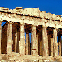 The Parthenon Temple on the Athenian Acropolis in Athens, Greece<br /> This is the world&rsquo;s most famous Doric temple. The Parthenon was dedicated to the goddess Athena when it was built on a citadel overlooking Athens, Greece. It is one of several archaeological ruins at the Acropolis of Athens.  Others include temples and sanctuaries plus two theaters and remnants of other structures. Most of these buildings were constructed during the 5th century B.C.