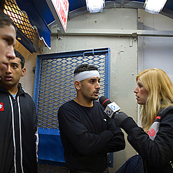 An injured Abbas Suan doing an interview for a local TV station, Jaffa, Israel, Jan. 29, 2006. <br />