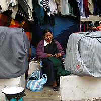 Street scene at the Plaza de Ponchos  Market, Otavalo, Ecuador.