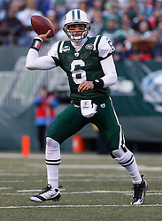 Nov 29, 2009; East Rutherford, NJ, USA; New York Jets quarterback Mark Sanchez (6) looks to pass during the first half of their game against the Carolina Panthers at Giants Stadium.