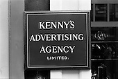 1962 - Kenny's Advertising Agency Ltd., sign at offices, Abbey Street