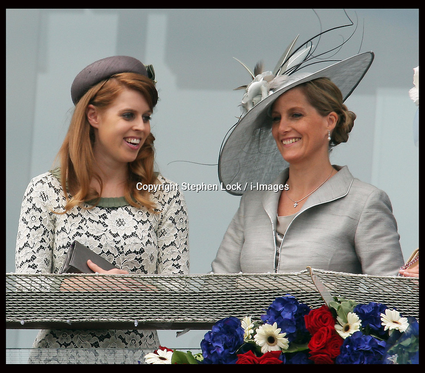 Princess Beatrice and Sophie, Countess of Wessex at  the Epsom Derby, Saturday, 2nd June 2012.  Photo by: Stephen Lock / i-Images