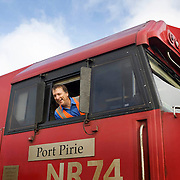 The Ghan.  The Train Driver at Darwin station, Northern Territory, Australia.