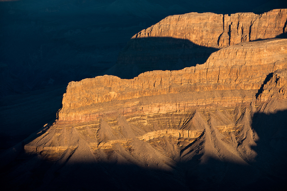 Early morning sunlight in the depths of the Grand Canyon.