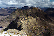 Views from Sgurr Mor, one of the munro peaks of Beinn Alligin, near Torridon in the north-west Highlands of Scotland
