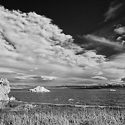 Mono Lake North Shore Wide View - Incoming Storm - Infrared Black & White