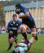 2005/06 Heineken Cup, Bath Rugby vs Bourgoin, The Rec, Bath,  ENGLAND: Danny Grewcock, powers through, to score a second half try.   29.10.2005   © Peter Spurrier/Intersport Images - email images@intersport-images..