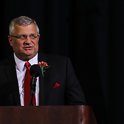 Superintendent Dr. Mervin Daugherty addresses students and family during duPont High School commencement exercise Saturday, June 06, 2015, at The Bob Carpenter Sports Convocation Center in Newark, Delaware.