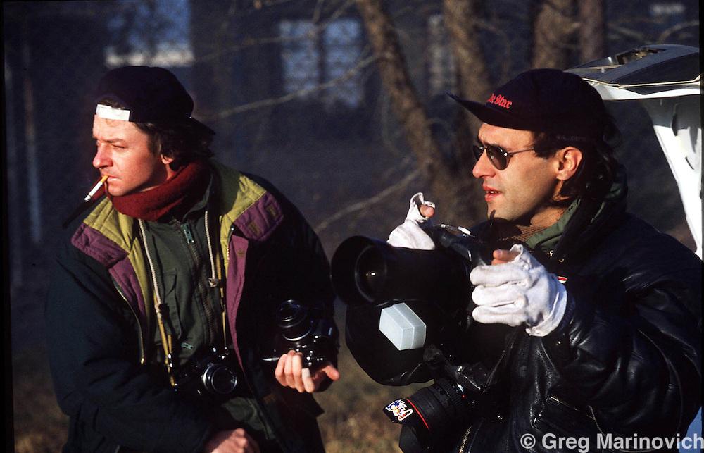 Bang Bang Club:  Joao Silva, right, and photographer Gary Bernard in SEbokenmg township, 1992. (Photo: Greg Marinovich)
