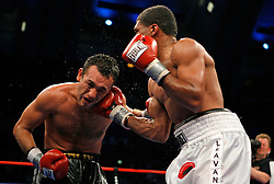 June 2, 2007; Atlantic City, NJ, USA;  Shamone Alvarez (white trunks) defeats Jose Luis Cruz (black trunks) via unanimous decision in their 12 round NABO Welterweight title fight at Boardwalk Hall in Atlantic City, NJ.