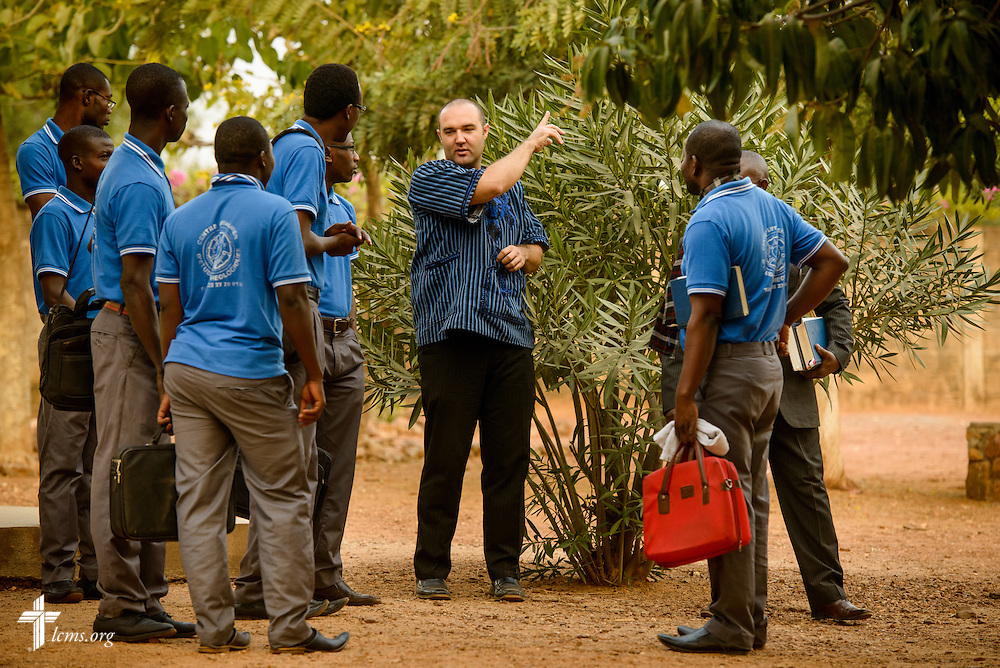 The Rev. Jacob Gaugert, LCMS missionary to Togo, talks with students before class at the Lutheran Center for Theological Studies (CLET) on Wednesday, Feb. 15, 2017, in Dapaong, Togo. LCMS Communications/Erik M. Lunsford