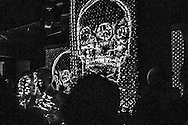 Barcelona. Skull projection in a night club.