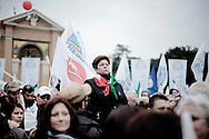 ROME. THE DEMONSTRATORS DURING THE PARADE OF PEOPLE OF FREEDOM PARTY