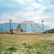 On the top of the Ottoman castle in Argirokastro /Gjirokaster. The metal structure was the main stage for the Albanian folklore festival.