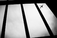 a plane seen through a grille.<br />