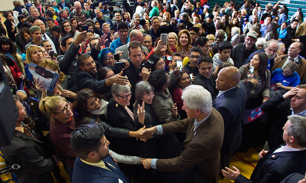 President Bill Clinton spends a little time up close with supporters following an organizing event for Hillary at the Advanced Technologies Academy on Thursday, January 21, 2016. L.E. Baskow