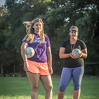 "Senior Recreation Leader Emily Gouveia and Recreation Coordinator Megan McCaffrey oversee youth soccer practices at Logvy Community Park in Calistoga.  ""We grew up in Calistoga and we would love to live here but its just too expensive...so, we live in Napa."