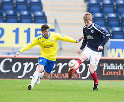 Morton's Kyle Wilkie and Falkirk's Jay Fulton..half time : Falkirk 0 v 1 Morton, 4/5/2013..© Michael Schofield..