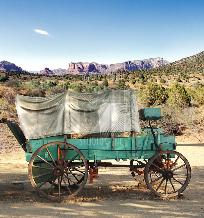 covered conestoga wagon in Arizona desert