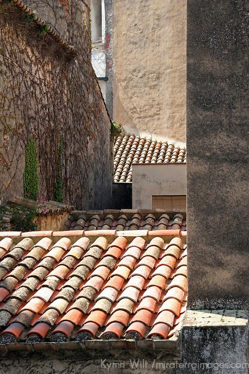 Europe, Spain, Girona. Rooftops of Girona.