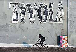 Large sign on wall outside famous Tivoli Garden in Copenhagen Denmark