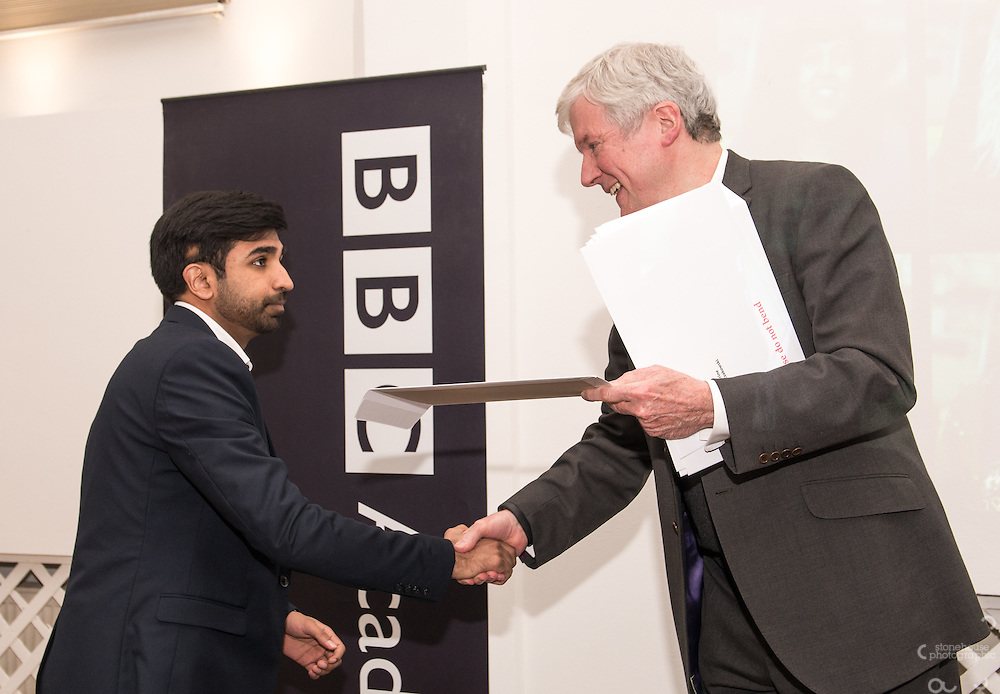 BBC DG Tony Hall presents students their certificates at the BBC Academy Local Apprenticeship Scheme Awards 2016 at The Custard Factory, Old Library, Birmingham, 24th, February.2016