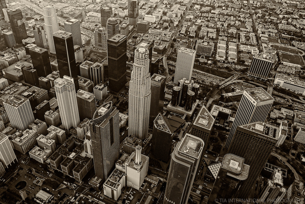 Core of Downtown Los Angeles (monochrome)