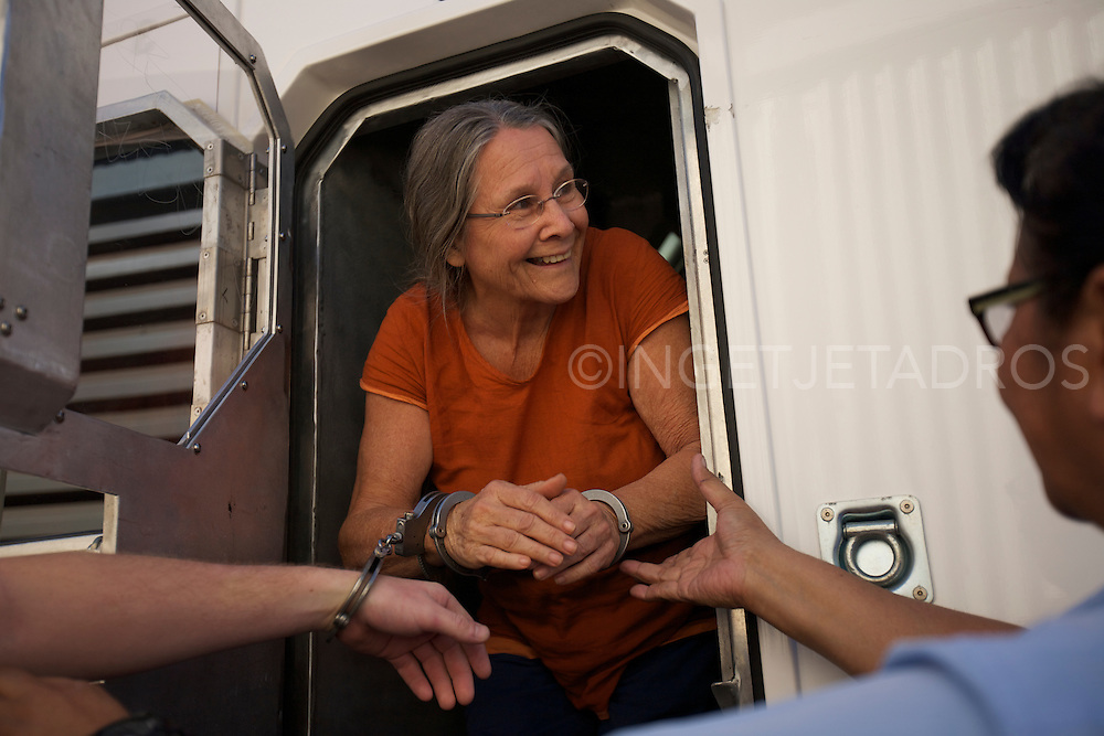 Julie Wegulin 62 yr and Ali Batten 65 yr old , both grandmothers from Broome halted works on the proposed James Price Point gas hub by locking themselves to a vehicle 18 May 2012.<br />