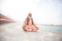 Swami Ram Ganga Puri next to Ganga