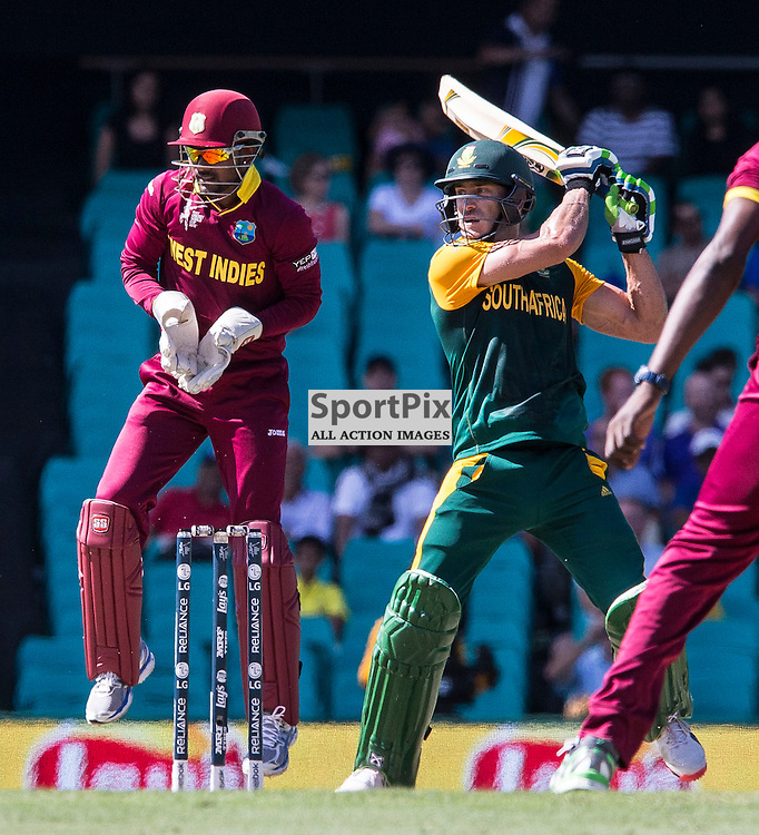 ICC Cricket World Cup 2015 Tournament Match, South Africa v West Indies, Sydney Cricket Ground; 27th February 2015<br /> South Africa&rsquo;s Francois Du Plessis smashes a cut shot