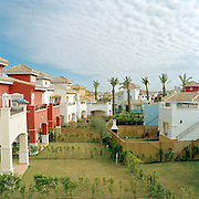 Murcia, Spain. From a story on the explosion of controversial golf resorts in Spain's arid south-east. These walled developments are often built on former farming land when farmers sell their land to the big developers. Most of these new houses are sold to foreign buyers as holiday homes..Photo shows the view from the 'Show House' in the half completed Polaris World Mar Menor Golf Resort. .Photo©Steve Forrest/Amaya Roman
