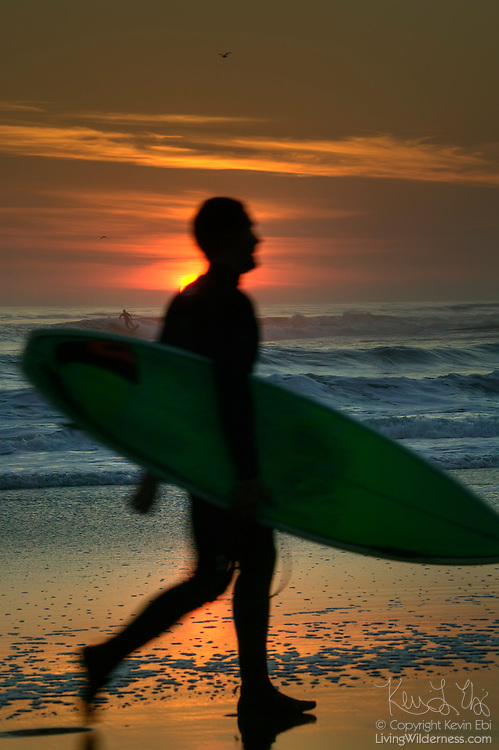 The sun may be going down, but this surfer is headed out to ride the waves near Santa Cruz, California. Another surfer is visible behind his left shoulder.